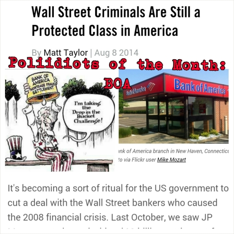 Poliidiots.com of the Month: Bank of America&WallStreet Criminals Are Still A Protected Class InUSA